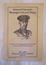 Rare Original 1918 General Smut'S Message to South Wales Motivational Leaflet *