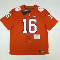 Autographed/Signed TREVOR LAWRENCE Clemson Orange College Jersey Fanatics COA