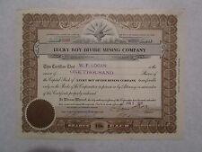 Lucky Boy Divide Mining Company    1919  Nevada Corporation