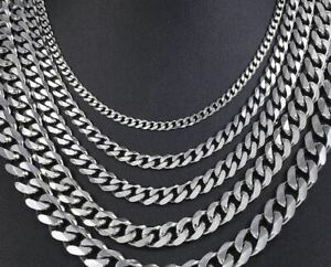 Stainless Steel Cuban Link Chain 3mm/5mm/7mm & Black/Gold/Silver & 45-60mm