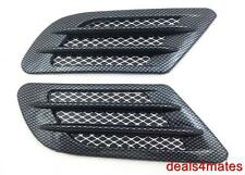 CAR BONNET AIR INTAKE FLOW SIDE FENDER VENT HOOD SCOOP CARBON BLACK