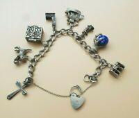 Old Vintage Sterling Silver Hallmarked Charm Bracelet