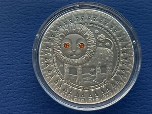 Leo Zodiac of the Sign 20 Roubles Silver Coin With Crystals Belarus 2009 (01)