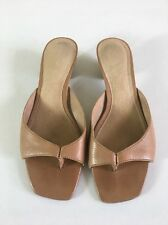 """Nine West, """"Malti"""" Taupe Leather Thong 1.5""""  Heels Size 6M"""