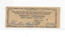 Philippines Emergency Guerrilla Currency 20 Centavos Mindanao 1943 - # 45936