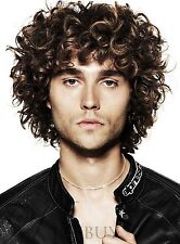 Handsome Men Short Brown Fluffy Curly Hair Cool Male Cosplay Daily Heat Full Wig