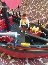 VTG 1991 Playmobil Corsair Red Pirate Ship 3174 Figures & Accessories Lot EUC