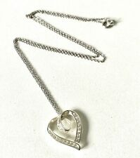 Stunning Classic Tension Set Sparkle HEART Pendant & Fine Chain Necklace 17inch