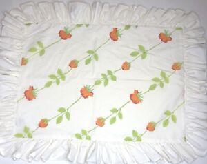 Vintage Christian Dior Wamsutta Orange & Red Rose Ruffled Standard Pillow Sham