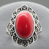 17X22mm 925 Sterling Silver Red Coral Gemstone Marcasite Ring Siz 7/8/9/10