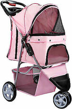 Pink OxGord Pet Stroller Cat Dog 3 Wheel Walk Jogger Travel Folding Carrier