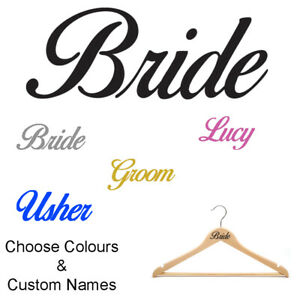 WEDDING COAT HANGER or INVITATION NAME / ROLE STICKERS, 21 COLOURS, DECAL, PARTY