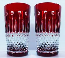 AJKA KING LOUIS  XENIA RUBY RED  HIGHBALL CASED CUT TO CLEAR CRYSTAL  SIGNED 2pc