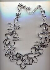 Oscar De La Renta Silver Abstract Flower Necklace Usa