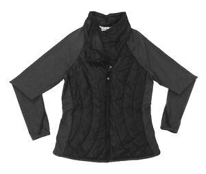 Athleta Black Gray Asymmetrical Zip Primaloft Thumbholes Jacket Women's Size M