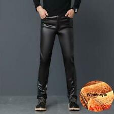 Fashion Mens Faux Leather Slim Motorcycle Pants Casual Stretch Straight Trousers