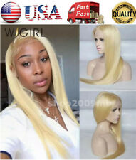 "28"" Frontal Lace Wig #613 Blonde Silky Straight 150% Density Preplucked Glueless"