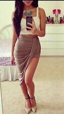 Womens Ladies Ruched Asymmetric Drape Wrap Side Split Midi Mini Skirt UK 8-14