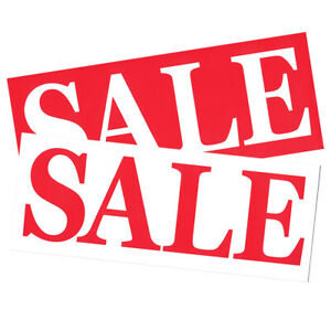 5 x SALE Large Display Slips Red/White Clearance Signs