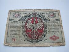 50 marek banknot  okupacja niemiecka w Polsce 1917 rok
