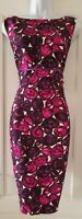 Womens Hobbs Pink Purple Floral Pure Silk Sleeveless Formal Shift Dress 16.