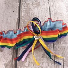 Plus Size Extra Large Garter Lesbian Gay Pride Rainbow Stretches 40inch Bride