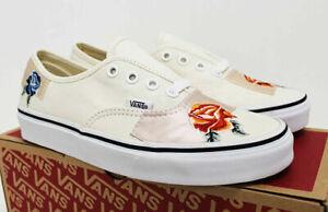 NIB VANS Women's Authentic Satin Floral Patchwork Ivory Sz 6 Low Sneakers Shoes