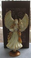 Jay Strongwater Golden Rejoicing Angel Tree Topper w Stand Swarovski Elements