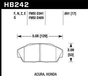 Disc Brake Pad-Base, Sedan Front Hawk Perf HB242N.661