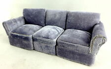 Melody Jane Dolls House Miniature Living Room Sectional 3 Piece Grey Velour Sofa
