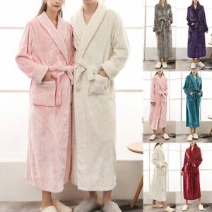 Ladies &Mens Soft Flannel Fleece Long Dressing Gown Unisex Bath Robe Bathrobe UK