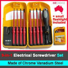 9-IN-1 ELECTRICAL SCREWDRIVER SET DIY Kit Tool CHROME VANADIUM STEEL Insulated