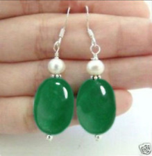 Beautiful White Pearl Natural Green Jade Silver Hook Earrings