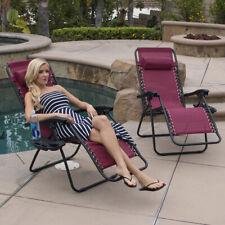 (2) Set Burgundy Chair Zero Gravity Folding Lounge Recliner Patio Pool w/ Tray
