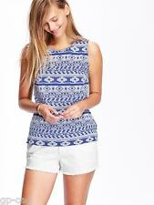 NWT OLD NAVY WOMEN'S JACQUARD SLEEVELESS BEST BLUE PRINT COTTON TOP , SMALL SIZE