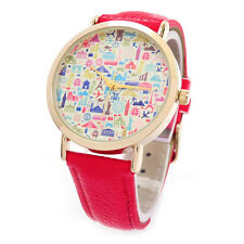 Red Gold Large Multi Color Dial Geneva Fashion Women's Watch