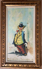 """Vintage Clown Painting, Signed Avgng?, Gold Wood Frame, 18""""x30"""""""