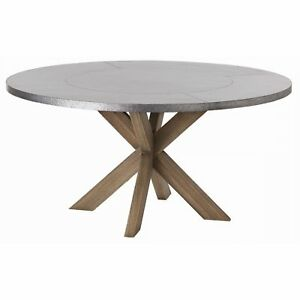 """60"""" Round Dining Table Contemporary Gray Brown Galvanized Natural Wax Finish Sol"""