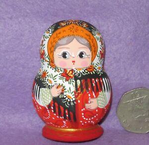 Matryoshka Fridge Magnet White Red Russian doll HAND PAINTED MATT MITINA signed