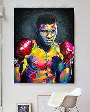 "XXL POP-ART BILD ""Muhammad Ali"" 116x90x5 ABSTRAKT LEINWAND GEMÄLDE IKEA CANVAS"