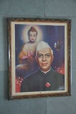 Vintage Framed Lord Gautam Buddha & Jawahar Lal Nehru Fine Litho Print