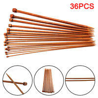 High Quality Set 36pcs Single Pointed Bamboo Knitting Needles 2mm - 10mm