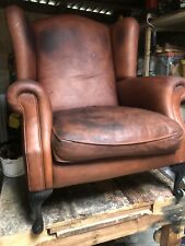 Large Vintage Leather Wingback Chair