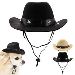 Summer Pet Dog Hat Outdoor Dog Cowboy Cap For Small Medium Dogs Adjustable Black