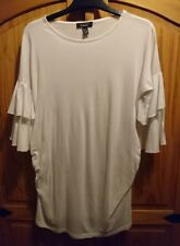 White New Look Frill Maternity Cotton T Shirt UK Size 8 Nearly New Worn Once