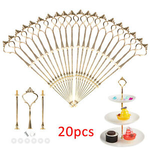20x 3 Tier Cake Cupcake Plate Gold Stand Rack Fittings Handle Rod Wedding Party