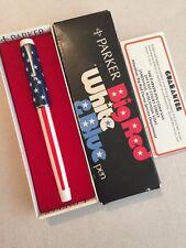 VINTAGE PARKER BIG RED WHITE & BLUE-USA-STARS & STRIPES BALL PEN-BOXED-SUPERB