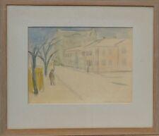 EXPRSSSIONIST BERTIL BERNTSSON *1921 STADTSTRASSE MIT FIGUR -AQUARELL DATIERT 48