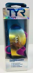 TYR Swim Shades Mirrored Goggles, Purple 172 Degree Wide Peripheral Range