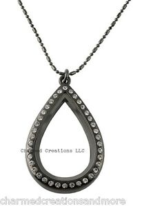 Large Teardrop CZ Gun Metal Floating Charm Memory Locket Necklace & Long Chain
